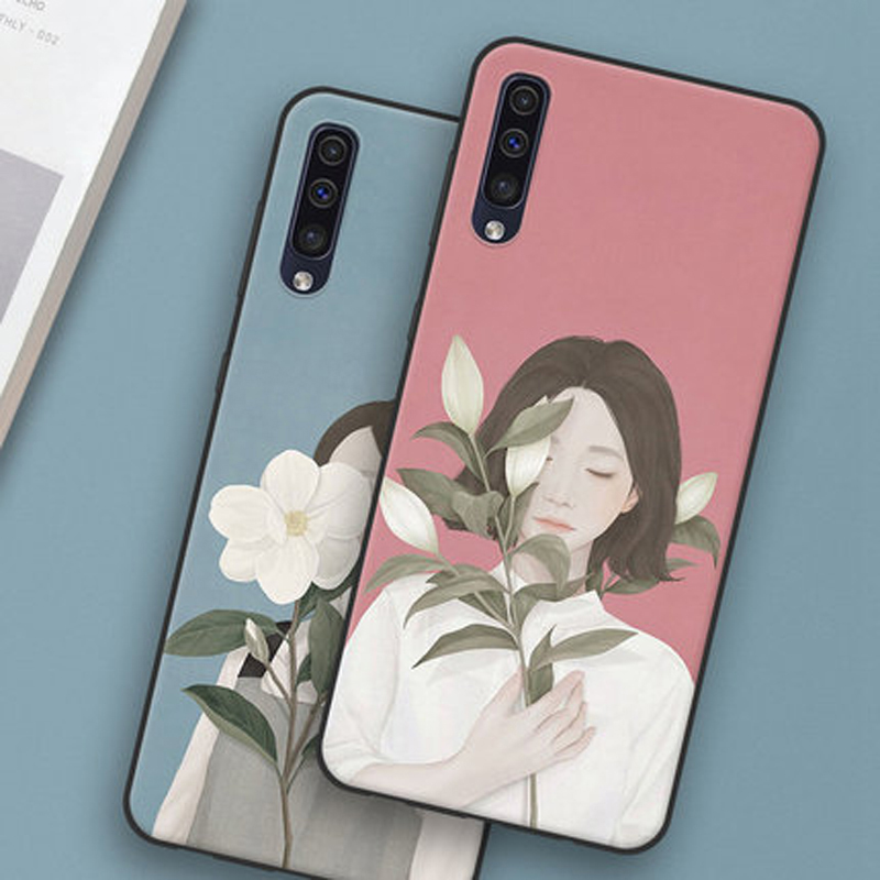 For Samsung Galaxy A50 Case Girl Flower Soft Silicone Phone Case For Galaxy A50 A 50 A505 A505F SM-A505F Casing Protective Cases