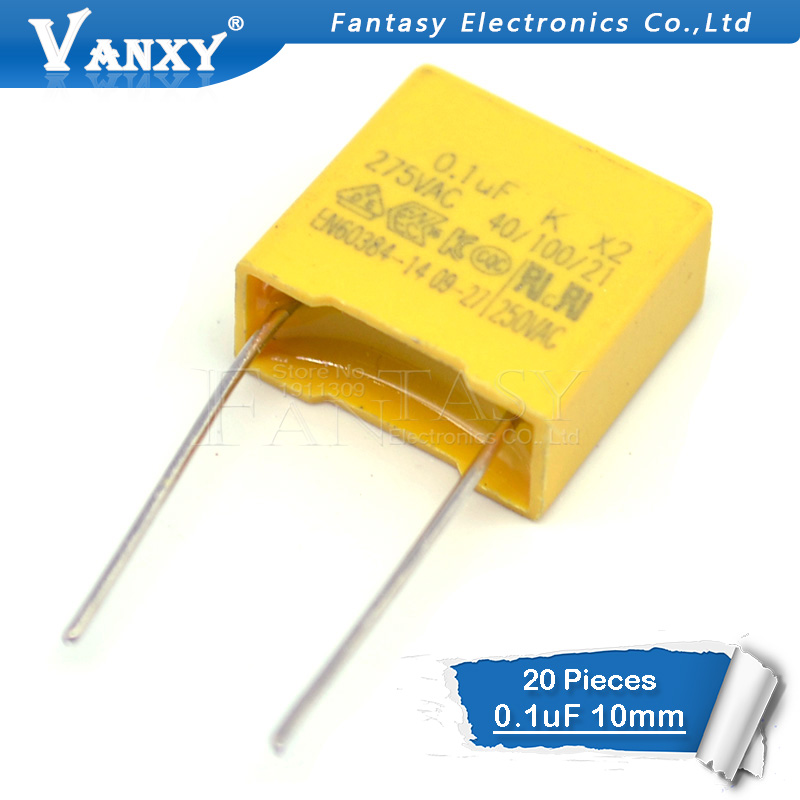 20pcs 100nF Capacitor X2 Capacitor 275VAC Pitch 10mm X2 275V Polypropylene Film Capacitor 0.1uF