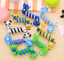 2Pcs Cartoon Animal Cable Winder Earphone Charger Data Line Wire Cord Organizer Winding Holder For Mouse Mp3 Mp4 Headphone