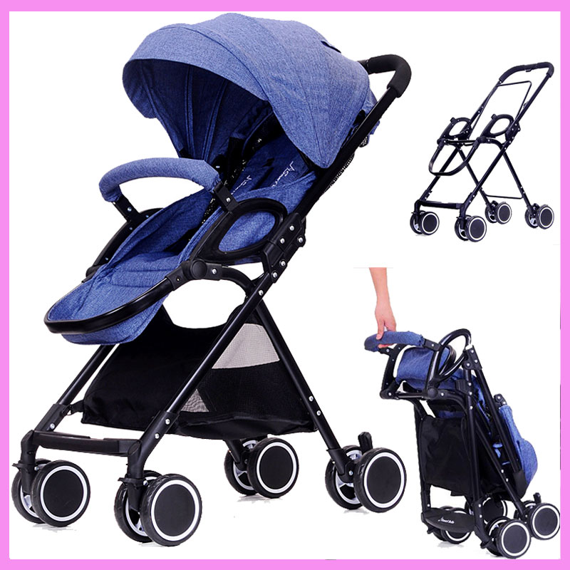 High Landscape Ultra Light Baby Carriage Stroller Portable Lying Flat Travel Car Umbrella Baby Pram Pushchair Removable Footrest