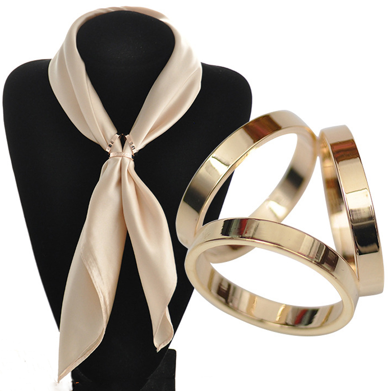 BS044 Silk Scarf Jewelry Accessories Buckle Shawl Ring Clip Tricyclic Scarves Buckle Luxurious Simple Women Girl