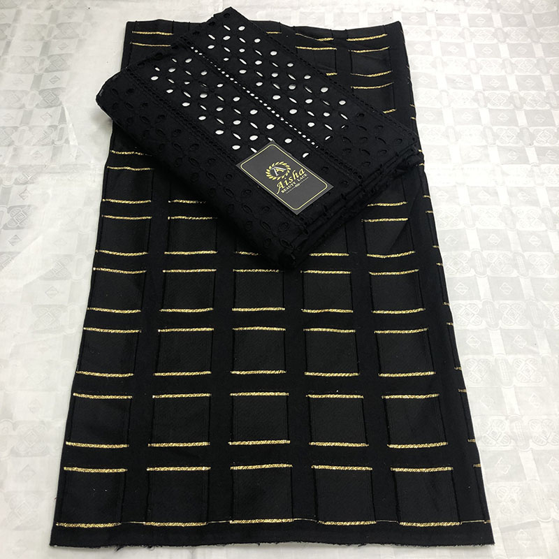 Hot African Mesh Lace Fabric 2019 High quality 3 2 Cotton Nigerian Lace Fabric Gold Line
