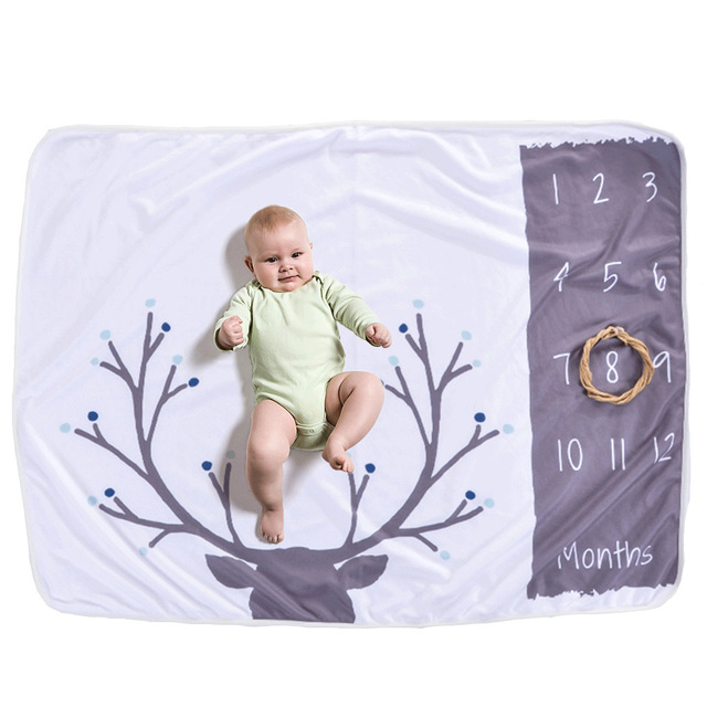 12 Monthly Annual Baby Milestone Blanket Baby Photo Props Souvenir Blanket Animal Flowers Background Blanket for Shooting