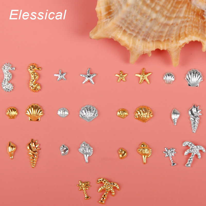 ELESSICAL 100pcs Gold Silver Metal Alloy Shell Animals Rivet Nail Charms For Manicure Nail Art Decoration Tool Nails Accessories gold triangle bead 3d nail decoration heart leaf shell rivet manicure nail art decoration