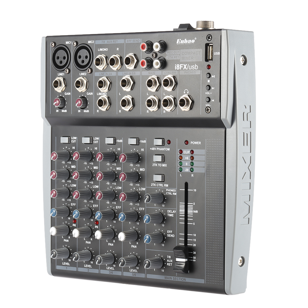 8 channels 3 band eq audio music mixer mixing console with usb xlr line input 48v phantom power. Black Bedroom Furniture Sets. Home Design Ideas