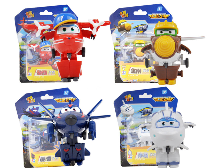 4pcs/set 7cm Super Wings Mini Airplane Robot baby toys Action Figures Super Wing Transformation Animation for Gift 8 pcs set super wings action figure toys mini airplane robot superwings transformation anime cartoon toys for children boys gift