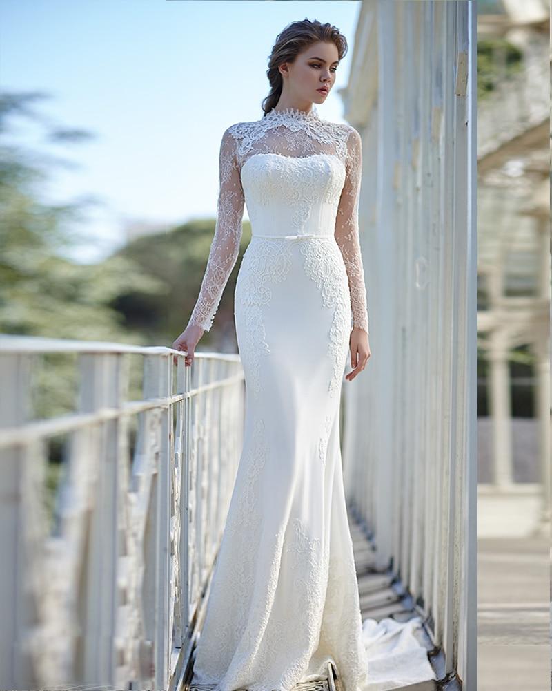 Joky Quaon Lace Appliques White Stain Mermaid Bridal Wedding Dress ...