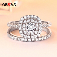 100% 925 Sterling Silver Full AAA CZ rings set for women Top quality 53 pieces Shiny Zircon Weeding ring Engagement jewelry Anel