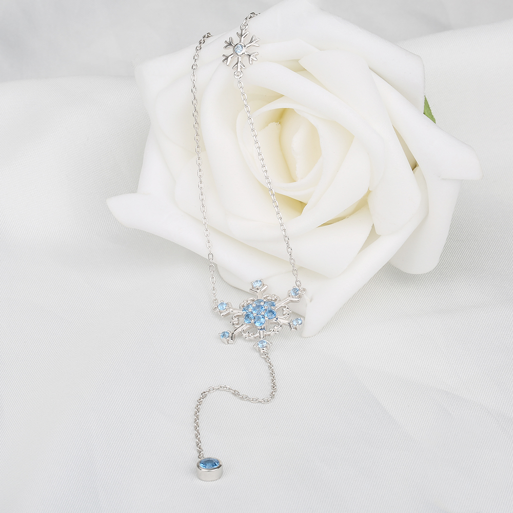 StrollGirl 925 Sterling Silver Chain Fashion Jewelry Blue CZ Snowflake Long Necklaces Pendants For Women Accessories Collier in Pendant Necklaces from Jewelry Accessories
