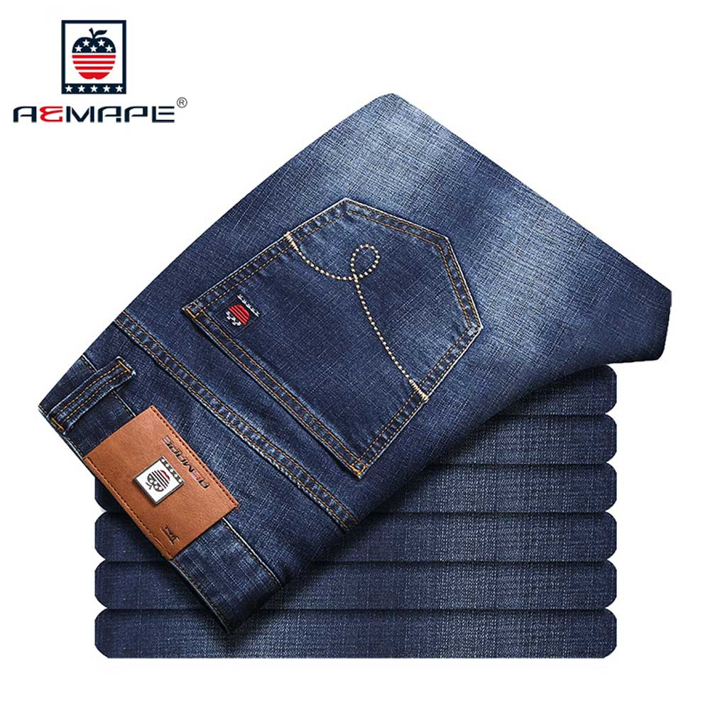 AEMAPE Jeans Men Slim Fit Brand Dark Blue Denim Long Pants Masculina Male Trousers Cotton men jeans 2017 autumn winter mens denim jean blue cotton pants men denim trousers slim fit jeans male plus size high quality