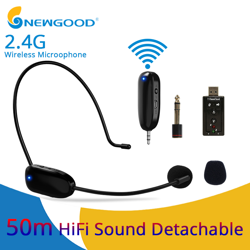 Mini Portable 2.4G Wireless Microphone Headset Megaphone Radio Bluetooth Microphone For PC Loudspeaker Teacher Meeting Guide