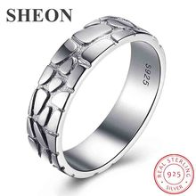 SHEON High Quality 925 Sterling Silver Wedding Ring Football pattern Classic Round Finger Ring Women Wedding Engagement Jewelry helon elegant classic round 6mm engagement wedding semi mount setting ring sterling silver 925 three stone ladies jewelry ring