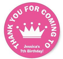 1.5inch Thank you for coming Birthday party favor stickers
