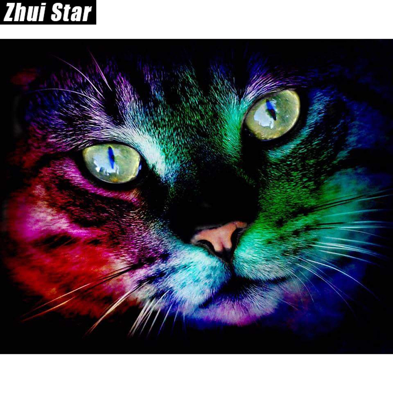 "Baru Diamond Square 5D DIY Diamond Lukisan ""Kucing Warna"" Embroidery Cross Stitch berlian buatan Mosaik Lukisan Hiasan Hadiah"