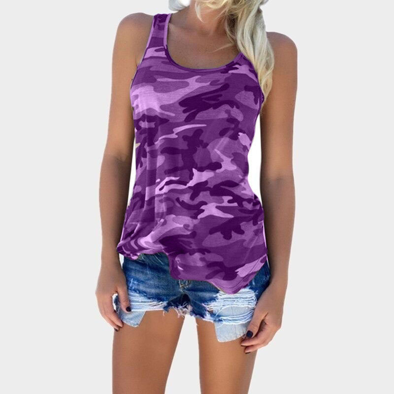 Womens Camouflage Hunting Vests Casual T Shirt Summer Camo Cami Sleeveless Tanks Top Vest Short  Running Fitness Yoga Clothes (13)