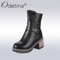 Odetina 2017 New Fashion Winter Women Boots Plush Zipper Solid Color Buckle Strap Design Block Heel