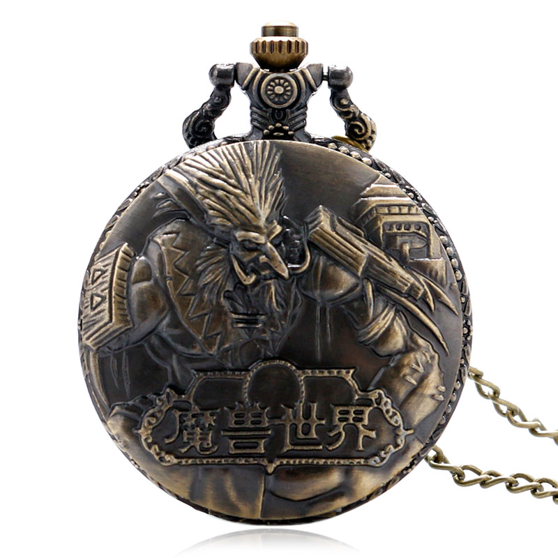 Vintage Steampunk Bronze Cool Awesome World of Warcraft Quartz Pocket Watch Men Necklace Pendant with Chain Reloj De Bolsillo antique smooth black mini toy pocket watch men women retro pendant necklace quartz watch mini gift chain reloj de bolsillo
