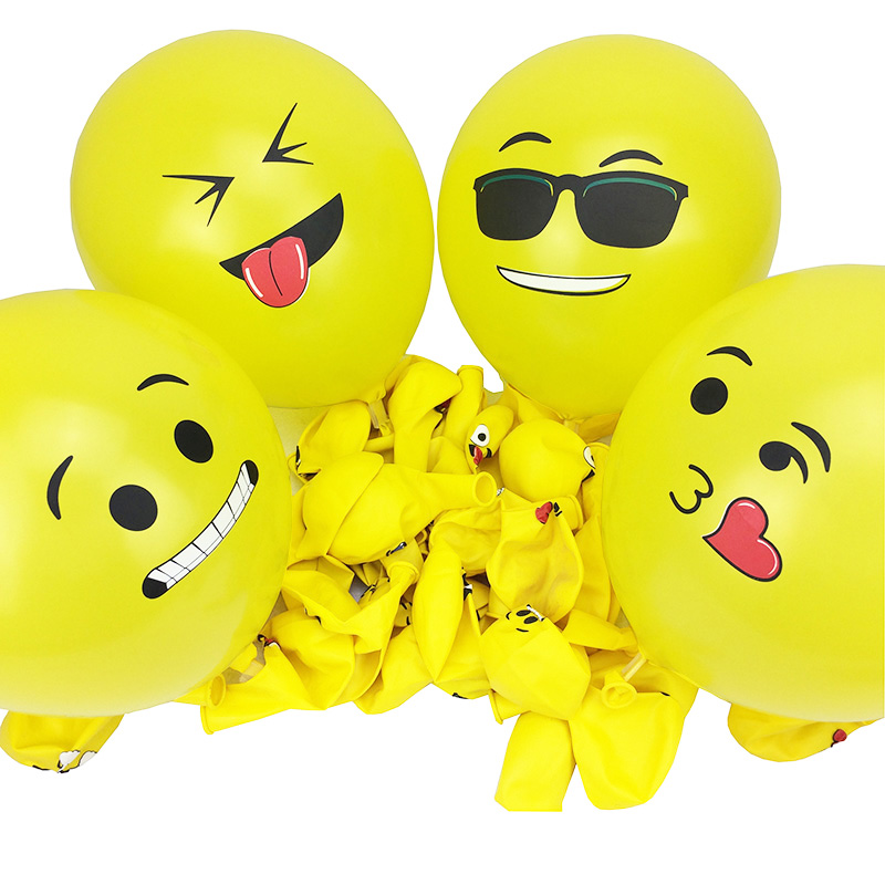 12 Inch Smiley Face Emoji Balloon 100 Pcs Happy Birthday Decoration Inflatable Balls Wedding Party Balloons Kids Toys In Ballons Accessories From Home