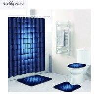 Free Shipping 4pcs Dark Blue Square De Banho Banyo Paspas Bathroom Carpet Bathmat Set Non Slip Tapis Salle De Bain Alfombra Bano