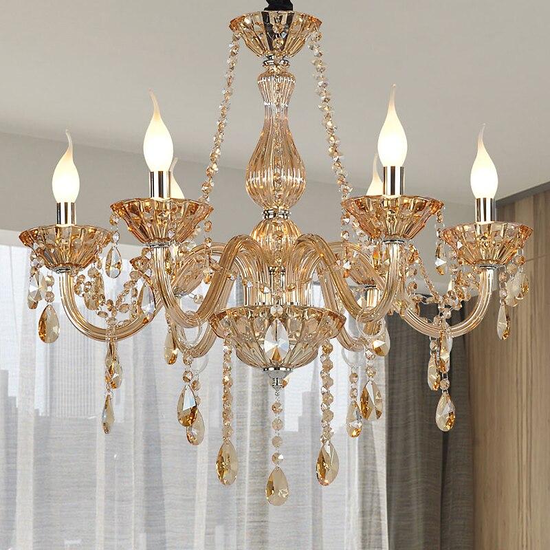 Šiuolaikiniai šviestuvai miegamiesiems Blizgantis konjakas Spalva Virtuvinis liustra Lampadari Pendientes šiuolaikinė virtuvės šviestuvų lemputė