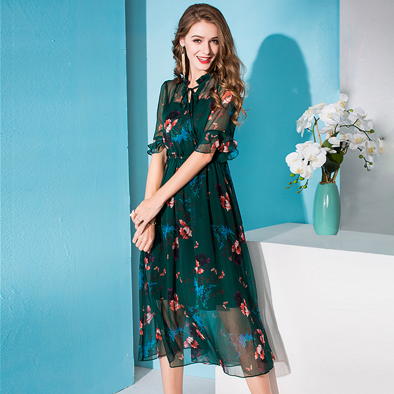 100 Silk Dress Women Printed Tie O Neck A line Half Flare Sleeves Elastic Waist Long