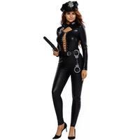 Adult Women Halloween Swat Police Cops Costume Lacing Up Jumpsuit Catsuit Black Sexy Wetlook Club PVC Officer Uniform For Ladies