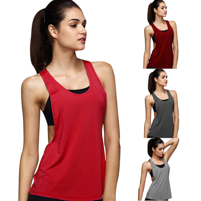 35c9fd1dad8ee Summer Sexy Lady Women Tank Tops Dry Quick Yoga Shirts Loose Gym Fitness  Sport Sleeveless Vest Singlet for Running Training