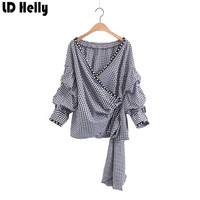 LD Helly Fashion 2017 Women Pearls Plaid Blouse Shirts Summer Bow Tie Long Sleeve V Neck
