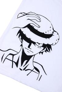 Image 3 - Brdwn One Piece Cosplay Luffy Kostuum Unisex Wit Korte Mouwen T shirt Cartoon Logo Tee Shirt Tops Zomer Dragen