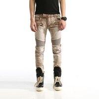 New Distressed Men Jeans Slim Fit Elastic Jeans Men Casual Biker Jeans Straight Denim Skinny Men