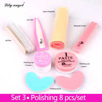 Nail Conditioner & care 8Pcs Nail Polishing Wax Nail Manicure Luster Buffing Paste nail Buffer Full Sets&Kits of nail files Z25