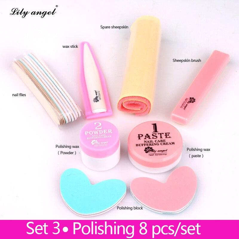 Nail Conditioner & cuidados 8Pcs Prego Brilho Pasta de Polimento Cera de Polimento de Unhas Manicure nail Buffer Completa Define & Kits de lixas de unha Z25