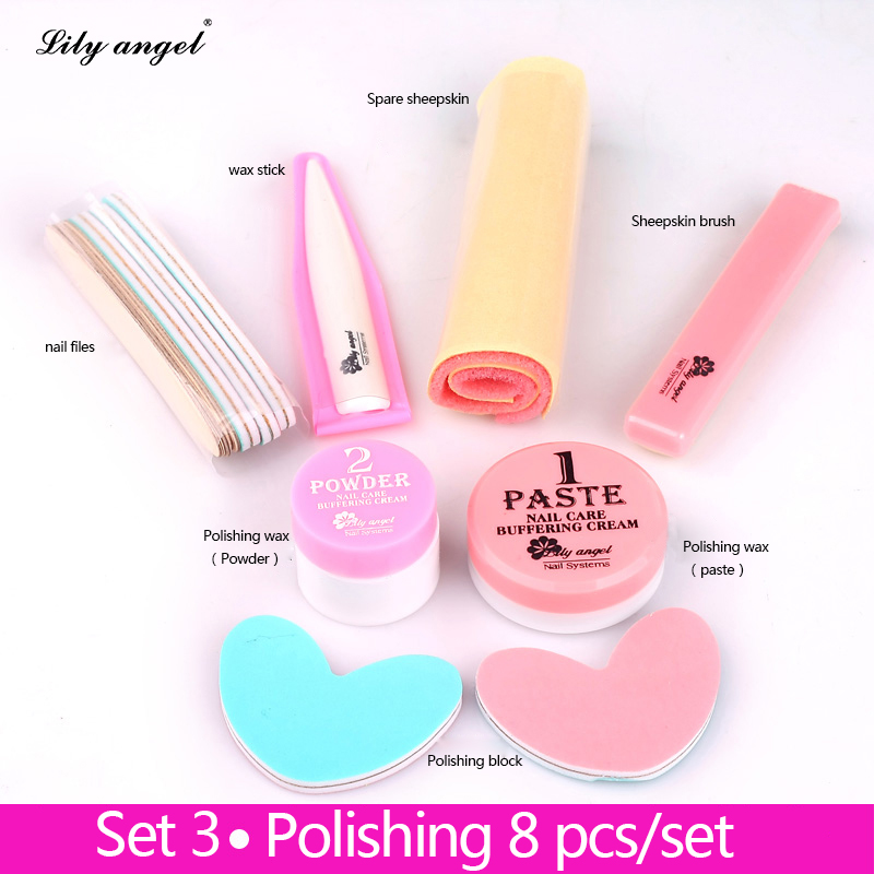 Nail Conditionneur et soins 8 Pcs Nail Polissage Cire Nail Manucure lustre Polissage Pâte nail Tampon Plein Ensembles et Kits de limes à ongles Z25