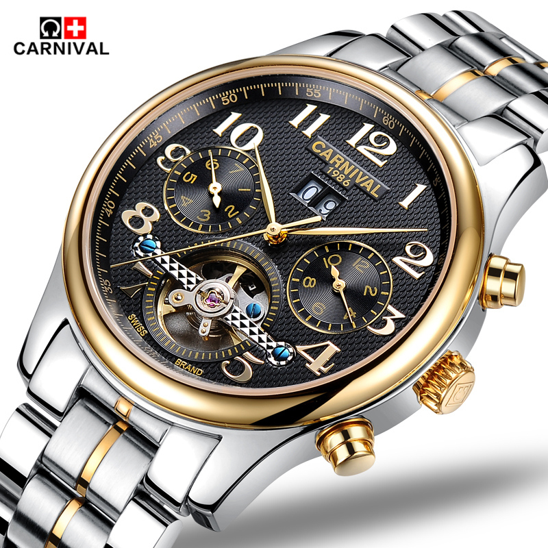 2016 Carnival watches men automatic mechanical watch hollow steel men's fashion business waterproof watch male table Tourbillon