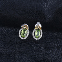Natural Gemstone Peridot in 925 Sterling Silver Heart Earrings