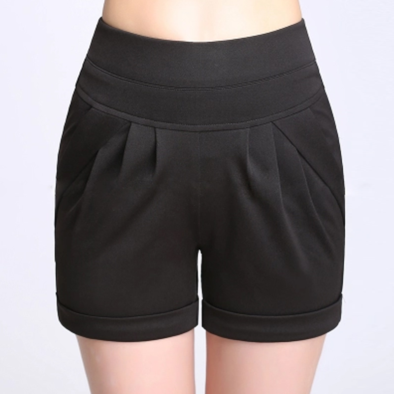 Elastic Women's   Shorts   Plus Size 4XL 5XL 6XL Casual Clothing Casual Stretch Office Lady Fitness Wide Waistband Femme Loose   Short
