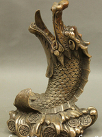 shipping 6 Chinese FengShui Bronze Copper Exorcism Dragon Fish On Wealth Coin Statue Set
