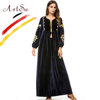 ArtSu 2018 Winter Elegant Long Lantern Sleeve Floral Embroidery Maxi Christmas Party Dresses Plus Size Loose Women Velvet Dress