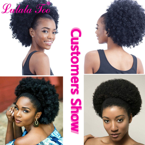Image 5 - 10inch Afro Puff Synthetic Hair Bun Chignon Hairpiece For Women Drawstring Ponytail Kinky Curly Updo Clip Hair Extensions
