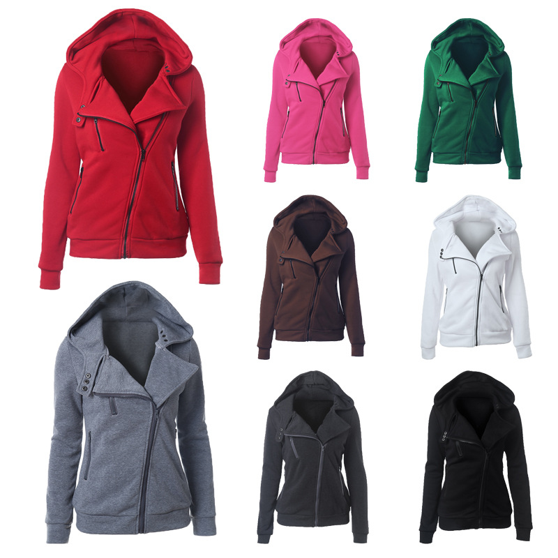 2016 new women who dress inclined zipper design for women who sell leisure pure color hooded fleece