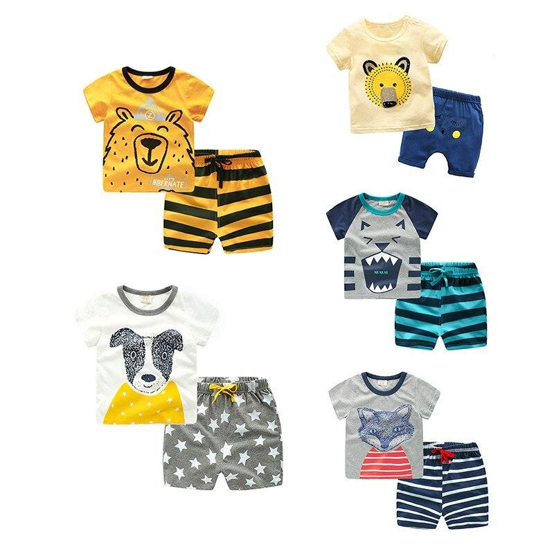 Summer Kids Boys Girls Casual Cute Short Sleeve Cartoon T-shirt Tops + Striped Short Pants Children Clothes 2 Pcs Sets