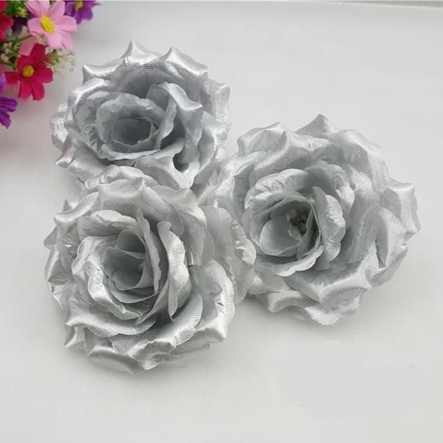 2016 silver color 10cm artificial rose silk flower heads decorative 2016 silver color 10cm artificial rose silk flower heads decorative diy props for wedding party free mightylinksfo