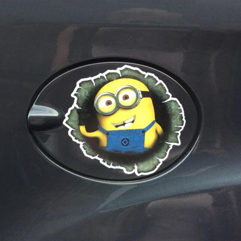 OTOKIT 3D Despicable Me Minions Cute Funny Cartoon Glue Sticker Car Decal Cover Waterproof Reflective Fuel Tank Auto Car Sticker