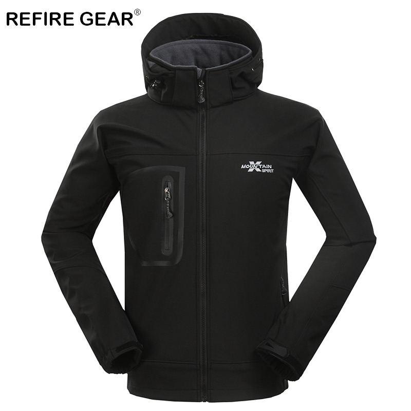 ReFire Gear Winter Thermal Soft Shell Camping Fleece Jackets Men Warm Windbreaker Outdoor Hiking Jacket Coats Hunting Clothing цена