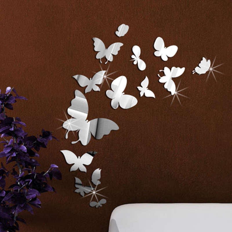 14PcsLot Cartoon 3D Acrylic Butterfly Mirror Wall Sticker