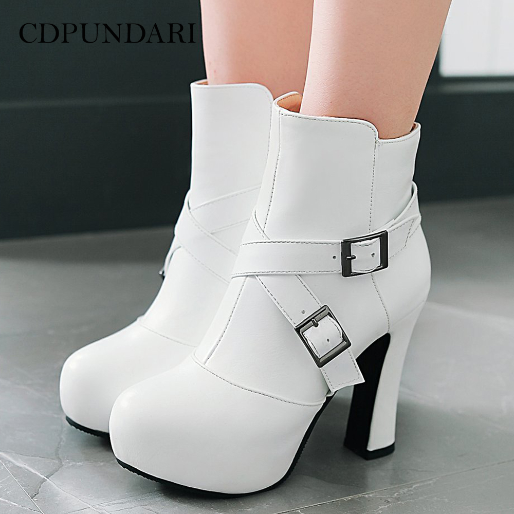 CDPUNDARI White Round Toe Ankle boots for women High heel boots Ladies Winter Platform boots shoes woman Black Pink