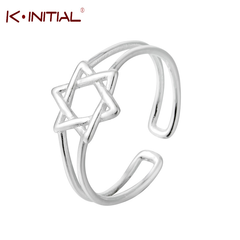 Kinitial Antique Magen Star of David Ring for Men Cool Silver Hexagon Punk Biker Rings Israel Jewish Male Knuckle Jewelry