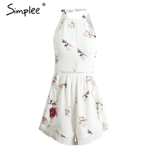 Simplee Hollow out women jumpsuit romper Flower print chiffon sexy romper summer overalls Ruffle backless jumpsuit playsuit