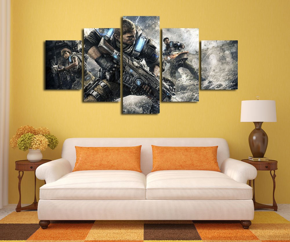 5 Piece HD Print Modern Gears Of War Game For Home Decor Paintings ...