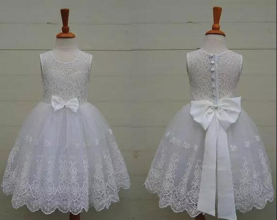 White Ivory Lace Flower Girls Dresses for Wedding with big Bow Fashionable Girls Dresses Any Size send envelope lace laser cut pink invitations cards for wedding free printing blank paper invitation card kit ribbons big bow